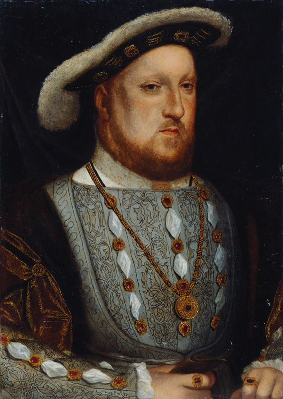 King Henry VIII after Hans Holbein the Younger oil on copper, probably 17th century, based on a work of 1536 © National Portrait Gallery, London